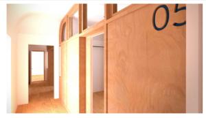 Render del corridoio d'accesso alle aule per le lezioni individuali